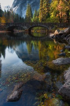 Yosemite- Bridge Across the Merced River by Larry Marshall Photography