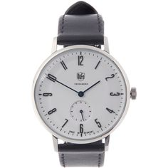 Dufa Watches White DF-9001-01 Walter 38MM White Face Watch ($365) ❤ liked on Polyvore featuring men's fashion, men's jewelry, men's watches, mens white watches, men's blue dial watches and mens white dial watches