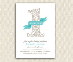 One Year Birthday Invitations Bunting Flag by myPiperPress on Etsy, $22.50