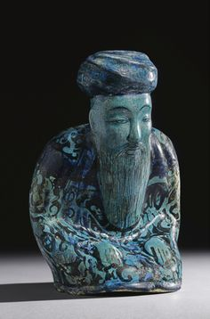 A Large Kashan Turquoise Pottery Figurine of a Seated Man, Persia, Ceramic Figures, Ceramic Artists, Modern Art, Contemporary Art, Iranian Art, Historical Artifacts, High Art, Sculpture, Ancient Art