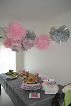 Easy baby shower decor...... brown and pink instead