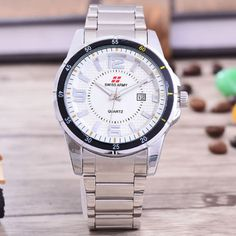 Swiss Army - Jam Tangan Pria – Body Silver – White Dial – Stainless steel band - SA-RT-5538–SW-TGL