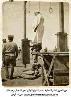 صورة نادرة لعملية اعدام شيخ الشهداء عمر المختار رحمه الله