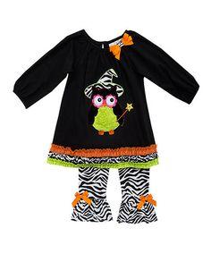 Look what I found on #zulily! Black Owl Ruffle Peasant Tunic & White Zebra Leggings - Girls #zulilyfinds