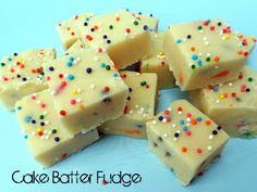 Cake Batter Fudge. Tasted good, but it was very white chocolate tasting (probably because of the 3.5 cups of wc chips). No stove top or candy thermometer needed, microwave required though. It was very easy. I also put sprinkles on top.