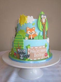 Forest Animal Cake - Love it! Animal Birthday Cakes, Animal Cakes, Baby Shower Cakes, Baby Boy Shower, Fondant Cakes, Cupcake Cakes, Fox Cake, Woodland Cake, Forest Cake