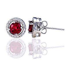 Rachel: 6mm Created Ruby Stud Earrings with CZ Halo Earring Jacket - Trustmark Jewelers