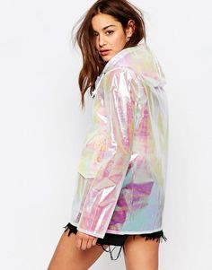 Missguided | Missguided Holographic Raincoat at ASOS