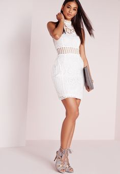 Missguided - Crochet and Lace Dress White