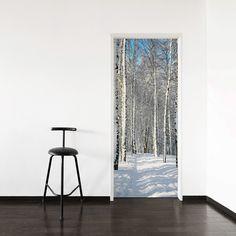 Winter Birch Path Door Mural #doordecor #winterday