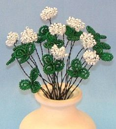Shamrock  French Bead Flower Pattern at Sova-Enterprises.com Many FREE Bead Patterns and Tutorials available!