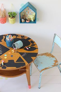 chalkboard table kids room
