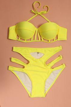 2015 Women Push Up Bikini set Symmetrical Cut Out High Waist Swimwear Neon Swimsuit bathing suit Hollow Out biquini-in Bikinis Set from Women's Clothing & Accessories on Aliexpress.com   Alibaba Group