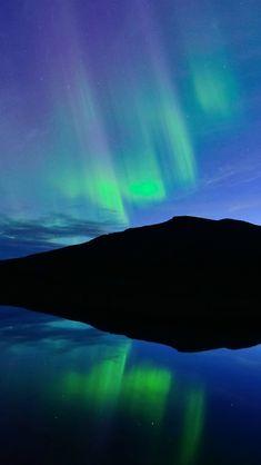 Norway, night, Northern lights, blue, lake
