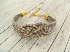 Armbänder - Verknotet: Armband mit Knoten und Anker blau creme - ein Designerstück von buntezeiten bei DaWanda