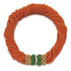 1949 CORAL, EMERALD, AND DIAMOND CHOKER, Cartier. Formerly owned by the Duchess of Windsor.