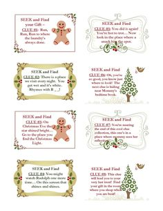 Christmas Scavenger Hunt Clues (for the younger one)some good for other occasions) - rhyming                                                                                                                                                                                 More