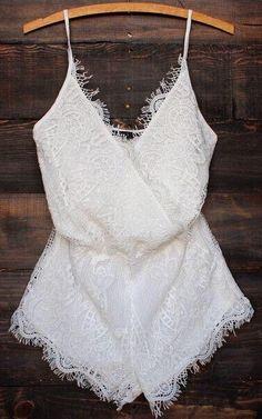 All lace crossover cami romper
