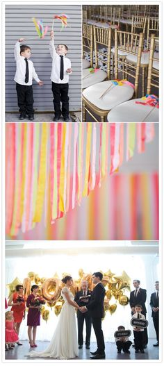 ©Avery House modern chicago wedding for ceremony I love the streamer idea that would be so beautiful and fun for the kids. Summer Wedding, Diy Wedding, Dream Wedding, Wedding Wands, Wedding Reception, Wedding Ideas, Got Married, Getting Married, Wedding Balloons