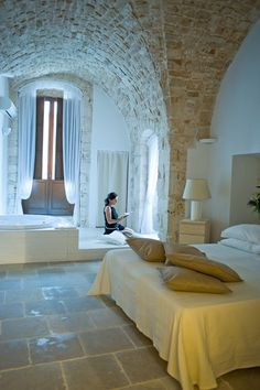 Elegant guest room in the 4-star villa on a historical Medieval court in the center of Conversano, the City of Art in Puglia, Italy... http://cooking-vacations.com/tour/letizia%E2%80%99s-kitchen-8-day/