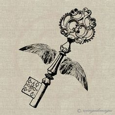 INSTANT DOWNLOAD Winged Key Digital Image No.84 Iron-On Transfer to Fabric (burlap, linen) Paper Prints (cards, tags)