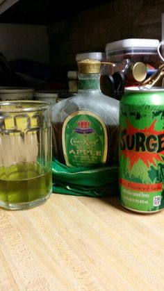 The Royal Surge-2oz Green Apple Crown Royal & 4oz Surge. It is absolutely amazing! My husband just made it :)
