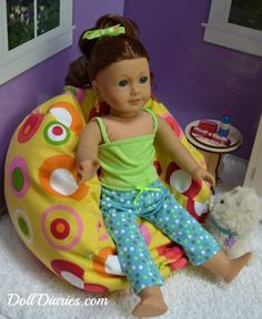 beanbag for AG dolls-----PURCHASED this for Christmas for Courtney in a different print. She is going to love it for her doll!