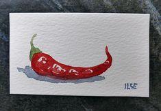 Red hot chili pepper. Miniature art, watercolor painting, original, vegetable art, veggie still life, dolls house wall decor, tiny aquarelle