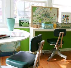 I'd probably get a lot more work done if I had a cute little office like this