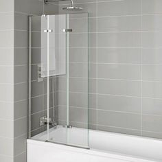 This left hand bi fold shower screen made of easy clean glass, can be folded away for a bath or folded out for a shower. Save space & clean less – win win! Bathroom Shower Panels, Bathroom Paneling, Bathroom Taps, Steam Showers Bathroom, Bath Taps, Next Bathroom, Small Bathroom, Bathroom Ideas, Attic Bathroom