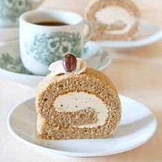 Coffee Swiss Roll - Tender genoise sponge base with a feathery light expresso flavoured butter cream!