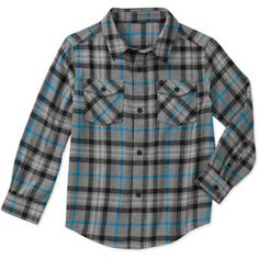 Faded Glory - Boys' Long Sleeve Flannel Shirt