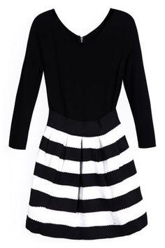 ROMWE | Vinyl Panel White-black Striped Slim Dress, The Latest Street Fashion