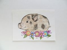 Watercolor painting, pig painting, original painting, animal painting, baby pig art, watercolor pig - This cute little one is the first little piggy I have painted. Penny is a little piglet sitting among the spring blooms. It is an original watercolor painting that measures 7 X 5 inches- it is hand cut. It will fit any standard 5 X 7 inch frame and/or mat. I have initialed the front and signed, titled, and dated the back. Keep in mind each painting is hand-sketched and painted, so every ...