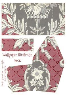 Wings of Whimsy: Wallpaper Birdhouse No 13 Back #vintage #ephemera #freebie #printable #wallpaper #bird #house