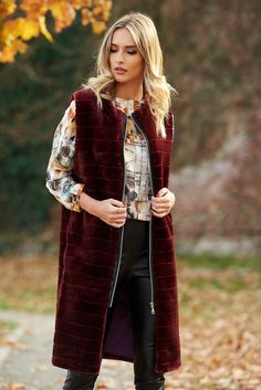 LaDonna burgundy casual gilet from ecological fur with inside lining, ecological fur, inside lining, zipper fastening Ecology, Line, Kimono Top, Burgundy, Vest, Fur, Zipper, Casual