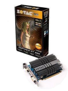 ZOTAC GeForce GT220 1GB DDR2 PCI Express 2.0 DVI/HDMI/VGA Fanless Graphics Card, ZT-20204-20L by Zotac. $82.99. Embrace silent computing without sacrificing performance with the newhigh-performance ZOTAC GeForce GT 220 ZONE Edition. Using passive cooling the ZOTAC GeForce GT 220 ZONE Edition operates silently enabling users to focus more on the beautiful and vivid visuals of movies and games. Video and multimedia is where the ZOTAC GeForce GT 220 ZONE Edition really s...