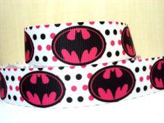 Batman Logo - PINK - 7/8 inch-batman, super, hero, superhero, bat, man, logo, joker, boys, boy, ribbon, pink, girly, dots,