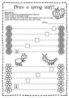 This set of 20 spring themed worksheets is designed to help your students practice identifying whether a pitch is on a line or in a space and practice high/low pitches. All activities require no preparation. Music Lessons For Kids, Music Lesson Plans, Music For Kids, Music Activities, Music Games, Music Theory Worksheets, Music Classroom, Classroom Ideas, Piano Teaching