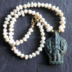 Pearl Necklace with Hand Carved Jasper Bodhisattva by GEMILAJewels, $215.00