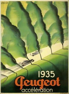 """#Peugeot Afiche de 1935 """"Accélération"""""""