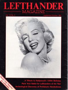 Lefthander - September/October 1987, magazine from USA. Front cover photo of Marilyn Monroe by Frank Powolny, 1953.