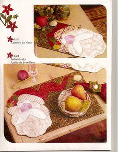 jogo americano de natal - patchwork com molde