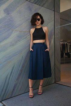 High waist midi skirts