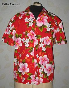 1960s Vintage Men's Hawaiian Aloha Shirt Floral Barkcloth Ui-Maikai Size Medium - Mens Vintage Fashions on Ruby Lane