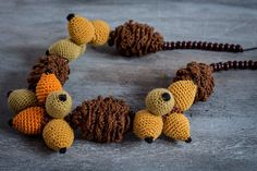 "Colorful Crochet Necklace | ""Ikebana"" Necklace | Autumn Necklace | Brier & Pine Cones Necklace"