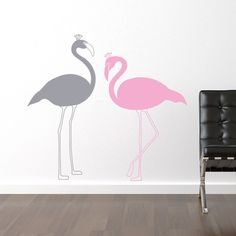 This giant flamingo vinyl wall sticker features two flamingo birds in different colors which create a charming design to decorate your space. Simply peel and stick the wall graphics to get a stylish and decorative look.