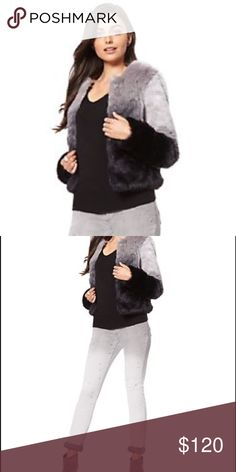 Faux fur Jacket The most perfect faux fur jacket for any event! Will definitely make heads turn. Fades from black to gray. Can dress up or dress down. Jackets & Coats