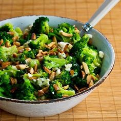 broccoli almond and feta salad.
