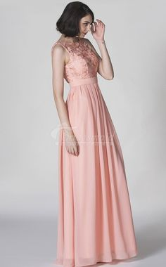 A Line/Princess Bateau Neckline Floor Length Chiffon dress with Lace Beach Bridesmaid Dresses, Designer Bridesmaid Dresses, Beautiful Bridesmaid Dresses, Cute Wedding Dress, Fall Wedding Dresses, Colored Wedding Dresses, Wedding Gowns, Bridesmaids, Wedding Guest Style